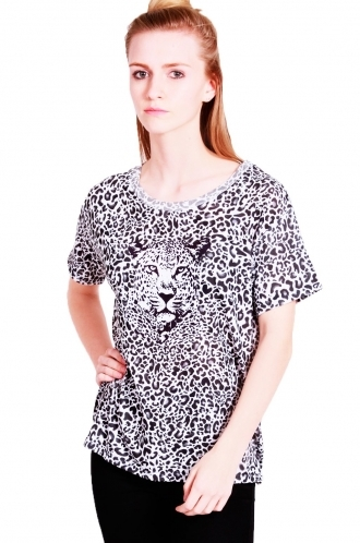 FFOMO Ria oversized t-shirt leopard print with Leopard face.