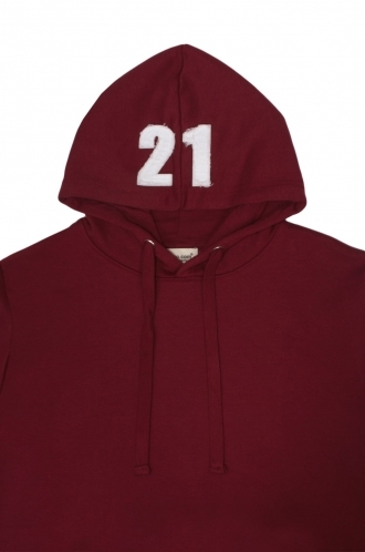 FFOMO Rob 21 Applique Hood Patch Burgundy Pullover Hoodie