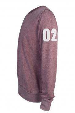 Robbie 02 Applique Arm Patch Faded Burgundy Sweatshirt