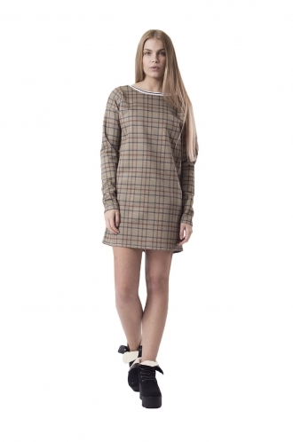 FFOMO Rose Brown Plaid Shift Dress