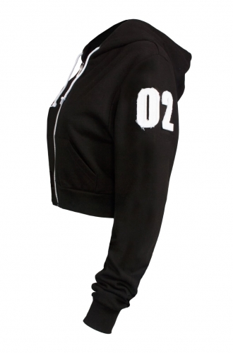FFOMO Rosie 02 Applique Arm Patch Cropped Black Metal Zipped Hoodie