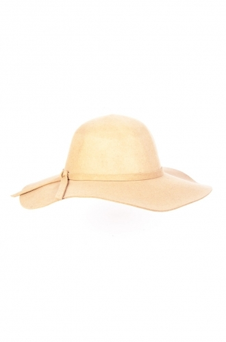 FFOMO Sadie,bow detail, Biege floppy wool hat.