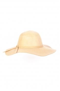 Sadie,bow detail, Biege floppy wool hat.