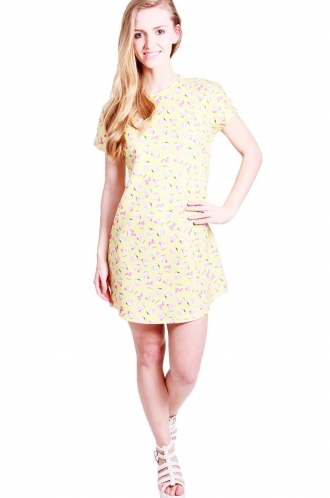 FFOMO Sammi shoulder dropped shift dress with watermelon yellow print.