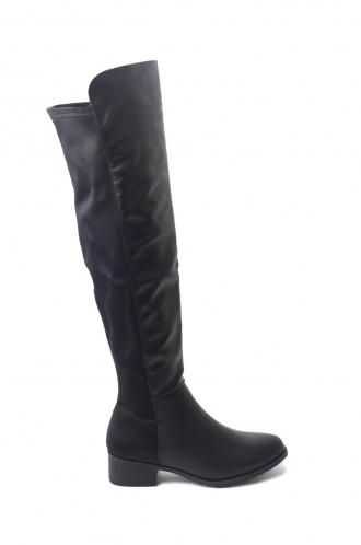 FFOMO Sara black PU over the knee boots