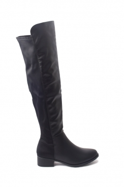 Sara black PU over the knee boots