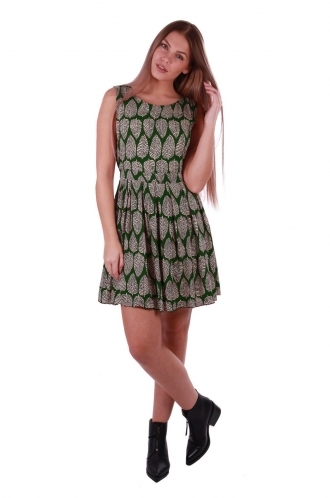 FFOMO Sarah Green Leaf Printed Skater Dress