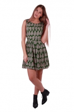 Sarah Green Leaf Printed Skater Dress