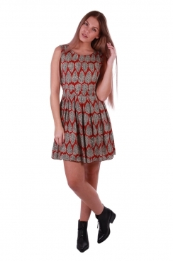 Sarah Red Leaf Printed Skater Dress