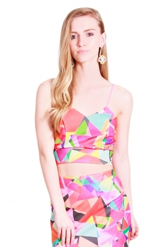 FFOMO Scarlett triangle printed co-ord bralette Top - Red