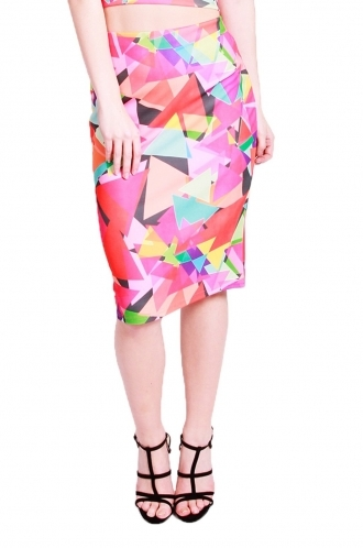 FFOMO Scarlett triangle printed long skirt