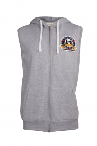 FFOMO Sebastian London Embroidered Patch Sleeveless Metal Zipped Hoodie
