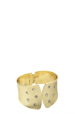 Shiny Gold Colour and Crystal Hinge Bangle