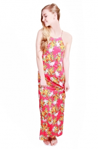 FFOMO Siena Floral High Neck Maxi Dress