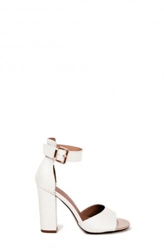 FFOMO Sienna white PU chunky block heel