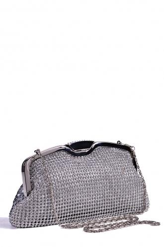 FFOMO Silver Diamante Clutch Bag