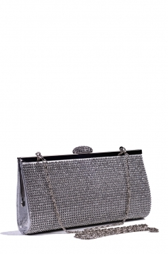 Silver Diamante Hard Clutch Bag