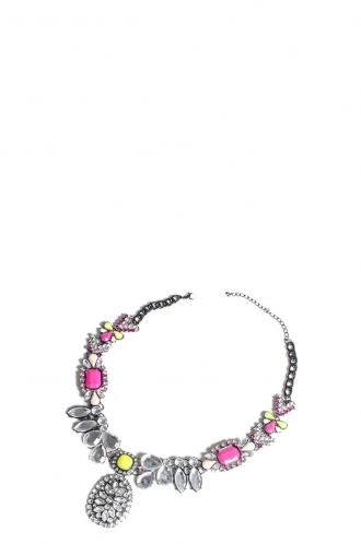 FFOMO Silver Neon Yellow and Pink Bead Necklace