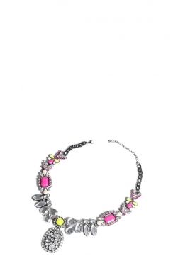 Silver Neon Yellow and Pink Bead Necklace