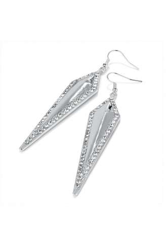 FFOMO silver toned dropped long diamond shaped earrings with hook fastening.