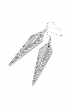 silver toned dropped long diamond shaped earrings with hook fastening.