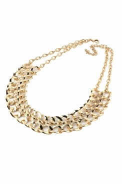 Simple chunky chain linked necklace.  double chain fastening