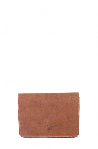FFOMO Small Brown Real Camel Leather Handmade Unisex Clutch Bag