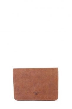 Small Brown Real Camel Leather Handmade Unisex Clutch Bag