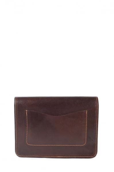 Dark Brown Real Camel Leather Handmade Unisex Clutch Bag
