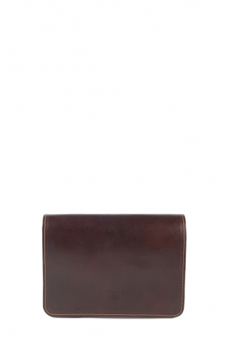 FFOMO Small Dark Brown Real Camel Leather Handmade Unisex Clutch Bag