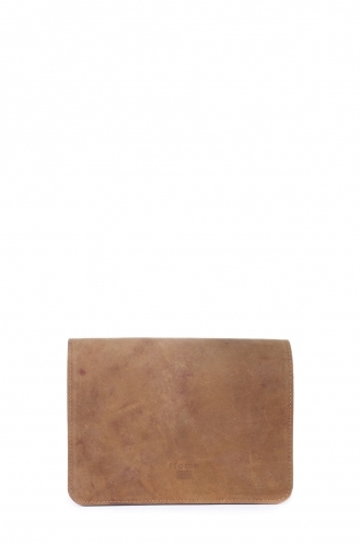 FFOMO Small Light Brown Real Camel Leather Handmade Unisex Clutch Bag