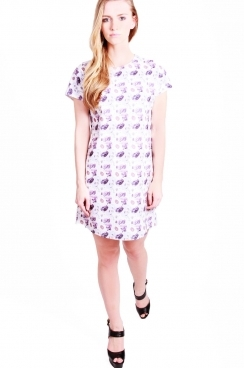 Sophia Drop shoulder Shift Dress with repeat floral print.