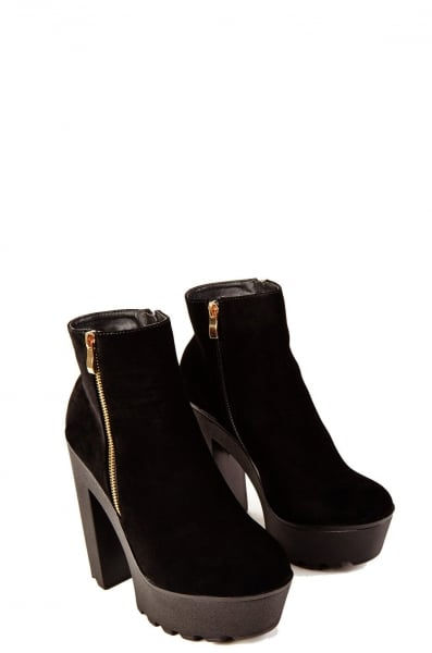 These black suede platform heeled ankle boots with gold zip on ...