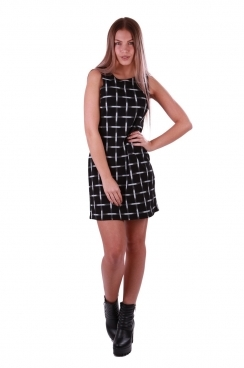 Tammy Black Grid Printed Dress