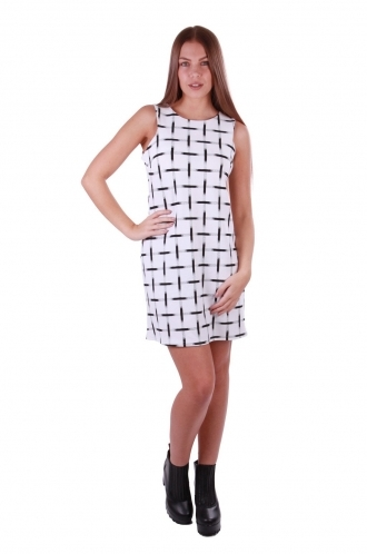 FFOMO Tammy White Grid Printed Dress