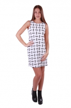 Tammy White Grid Printed Dress
