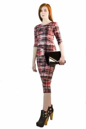 FFOMO Tamsin Red & Black Abstract Tartan BodyCon Dress