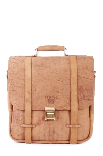 FFOMO Tan Briefcase Real Camel Leather Handmade Square Unisex Bag
