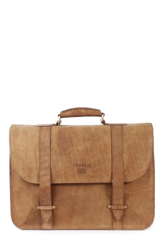 FFOMO Tan Briefcase Real Camel Leather Handmade Unisex Bag