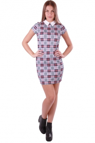 FFOMO Tartan White Molly Collar Dress