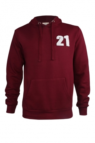 FFOMO Terry 21 Applique Patch Pullover Burgundy Hoodie