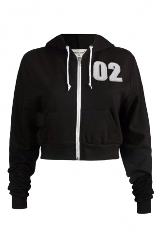 FFOMO Tiffany 02 Applique Patch Cropped Black Metal Zipped Hoodie