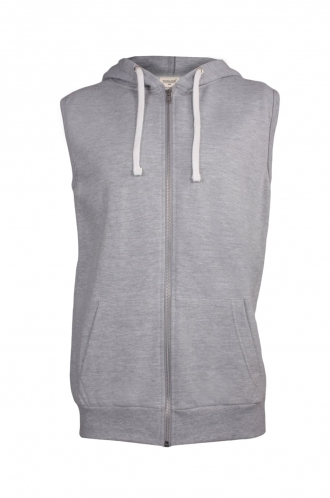 FFOMO Tony Simple Grey Sleeveless Metal Zipped Hoodie
