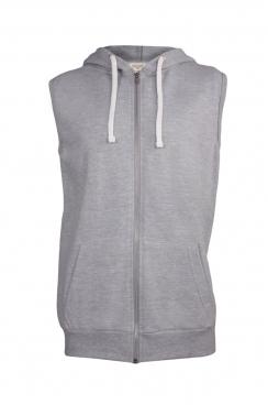 Tony Simple Grey Sleeveless Metal Zipped Hoodie