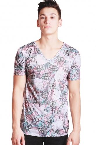 FFOMO Tony Tropical leaf print Slim Fit with Deep V Neckline T-shirt