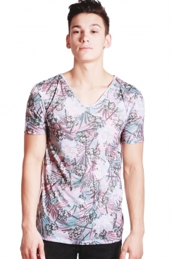 Tony Tropical leaf print Slim Fit with Deep V Neckline T-shirt