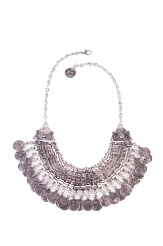 FFOMO Tribal Coin Silver Statement Necklace