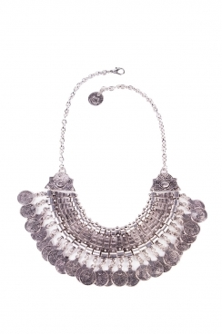 Tribal Coin Silver Statement Necklace