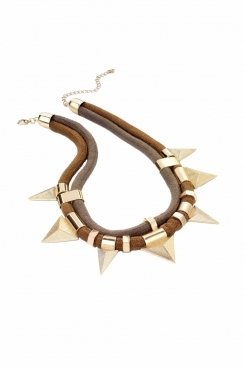 tribal look featuring gold triangle pendant drop style with double cord and clip fastening necklace