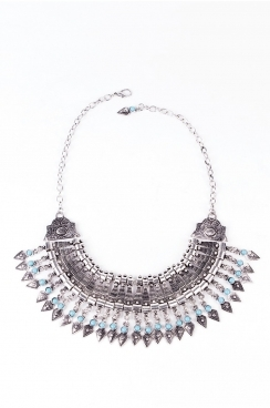 Tribal Silver Statement Necklace